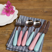 6Pcs Cybil Stainless Steel Cutlery Set Forks Knives with Ceramic Handle Blue Pink Color Kitchen Supplies Gifts for Couples