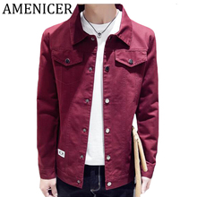 Autumn Winter Korean Button Pocket Style Denim Jacket Male Military Windbreakers Cowboy Youth Fashion City Casual Man Jacket(China)