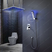 "High quality BECOLA Brass Bathroom Super Deluxe Shower set and Big 20"" LED shower head + LED hand shower B-LED2020"