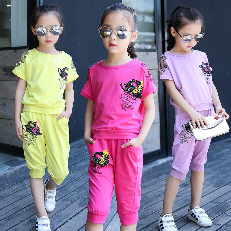 Summer Wear Girl New Pattern Seven Part Pants Suit Printing Formal Hat Girl Child Suit 2 Pieces Kids Clothing<br>
