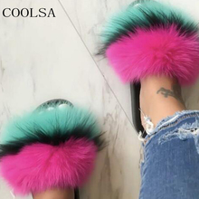 COOLSA Winter Women's Plush Slippers Indoor Furry Home Shoes Warm Fox Fur Slippers For Women Slides Flip Flops Fluffy Sandals(China)