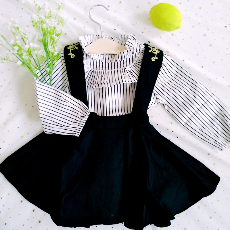 Spring section of the new childrens stripes stripe long sleeved shirt + embroidered dress suit<br>