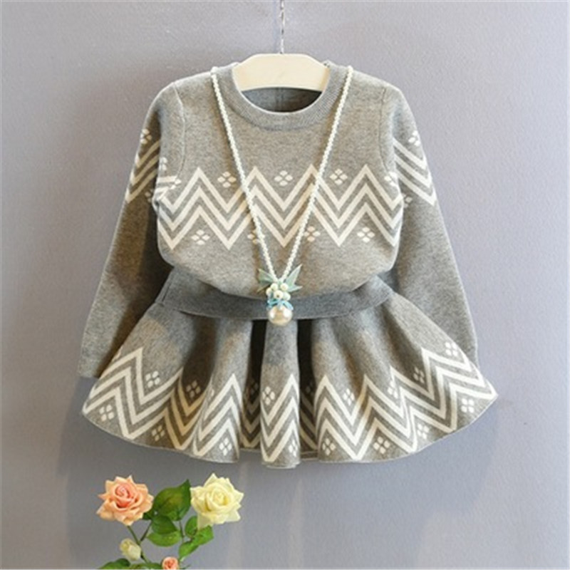 Girls Gray Sets 2017 New Spring Autumn Childrens Clothes Girls Sweater and skirt Two-piece 3-12 year Fashion Casual Clothes<br><br>Aliexpress