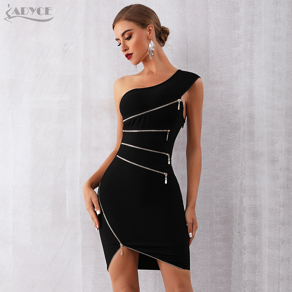 ADYCE 2019 New Summer Women Bandage Dress Sexy One Shoulder Zipper Black Clubwear Dress Vestidos Celebrity Evening Party Dress