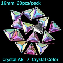 16mm Triangle Crystal AB / Crystal Color Sew On Rhinestones Two Holes Resin Sewing On Crystals DIY Garment Jewelry Stone