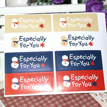 10page/lot (80pcs) Christmas snowman stickers square adhesive sticker Candy box gift card decoration New Year party supplies