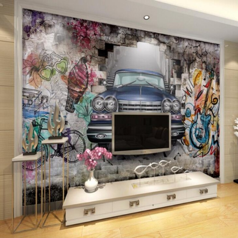 Custom wallpaper 3D stereoscopic retro car painted graffiti mural TV background decorative painting personalized wallpaper<br><br>Aliexpress