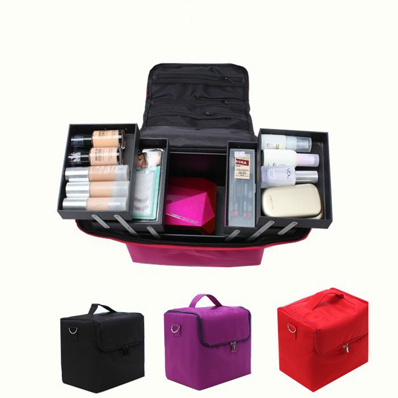 Professional Cosmetic Bag Portable Large Capacity Manicure Beauty Multi-layer Toolbox Storage Box Cosmetic Case Waterproof<br>