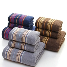100% cotton towel set 3pcs thickened jacquard striped large  bath towel  adult beach towel soft absorbent face wash towel