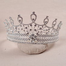 Exquisite Vintage Silver Clear Crystal Baroque styles Full Round Wedding Tiara Bridal Royal Queen Princess Crown Headpiece