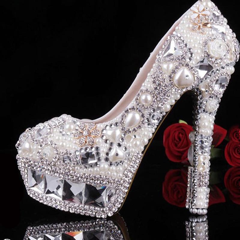 Luxurious Elegent White Pearl Wedding Dress Shoes Lady Platform Rhinestone Bridal Dress Shoes Woman High Heel Banquet Shoes<br><br>Aliexpress