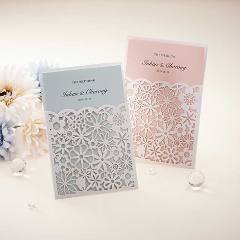 Detail Feedback Questions About New Style 1Pcs 6 Color Insert Cards Elegant Wedding Invitations Laser Cut Flower Design Print Party Birthday Greeting