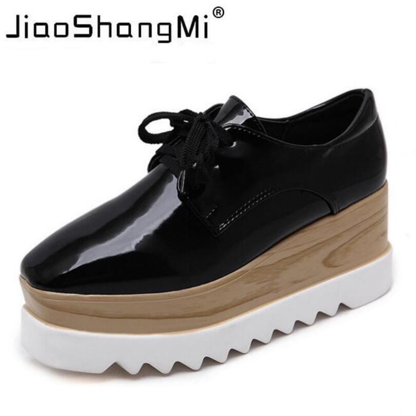 Brand Black Mirror Flat Platform Shoes Woman Lace-Up Square Toe Oxford Shoes Women Sneakers Platform Autumn Fashion Creepers<br>