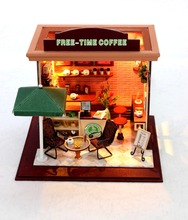 Free-time Coffee Shop Small DIY Wood Doll house 3D Miniature Dust cover+Lights+Furnitures Building model Home&Store deco Toy