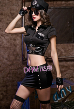 Buy Brand Top Grade New Adult Women Sexy Cop Uniform Outfits Black Latex Sexy Police Costumes S6234