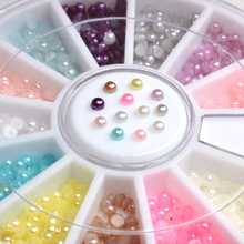 2mm 300pcs Nail Art Stickers Studs Pretty Colorful Half Pearls Nail Art Decoration Nail Tools 1 Box Nail Decoration Wheel(China)