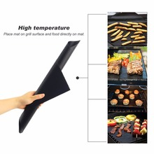 2pcs 40x33cm BBQ Grill Mat Barbecue Food Sheet Cooking Baking Microwave Oven Use Black Mats Cookware Heat Resistant Non-stick(China)