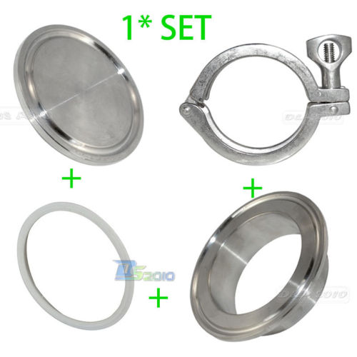 1set 304 316 Stainless Steel SS316 SS304 Sanitary 2 2 Inch End Cap + 2 Weld on Ferrule + 2 PTFE Gasket + 2 Tri Clamp<br><br>Aliexpress