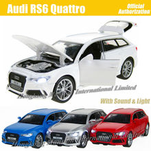 1:32 Scale Diecast Alloy Metal Luxury SUV Car Model For Audi RS6 Quattro Collection Model Pull Back Toys Car With Sound&Light(China)