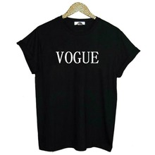 VOGUE Letters Print Women Tshirt Cotton Casual Shirt For Lady White Black Top Tee Drop Ship Hipster(China)