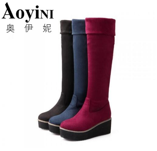 2016 New Fall fashion elastic knee boots Female platform boots Large size shoes women Motorcycle boots Black Blue Red<br>