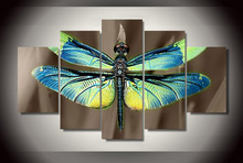 Unframed 5Pcs Colored Dragonfly Wings Canvas Painting On The Wall Pictures For Living Room Cuadros Decoracion Modular Pictures(China)