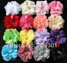 "100pc 2"" Wholesale cheap Chiffon flower for newborn headband, boy and girls Flowers flat back 31 colors available"