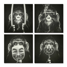 WEEN Framed Printed Monkey pictures Home Decor Ready To Hang 4Pc Module Animal Black Cuadros Decoracion Art For Living Room