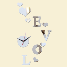 2017 new fashion stickers diy wall clocks home cheap mirror acrylic modern living room quartz needle sticker(China)