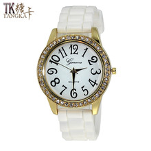 Fashion Candy color Silicone watches Woman Crystal Quartz Clock Casual student Rhinestone jelly Quartz Wristwatches