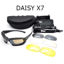 Daisy X7 Army Goggles Sunglasses Men Military Sun glasses Male 4 Lens Kit For Men's War Game Tactical Glasses YQ162