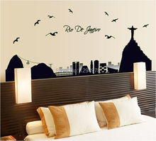Free Shipping Sao Paulo Brazil views Luminous Removable Map Wall Poster Wallpaper Wall Stickers Parlor Bedroom Home Decor House