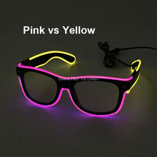 Popular Dance Party Decorative Voice Activated EL wire Sunglasses Holiday Lighting Led Neon Rope Tube Glasses as Birthday Gift