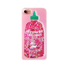 2017 Fashion cartoon hot love glitter sequin liquid quicksand tomato ketchup chili sauce tpu side pc case For Iphone cell phones(China)