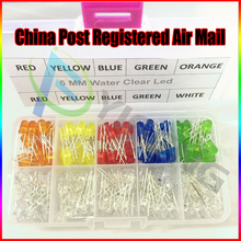 100pcs/Lot 5mm Diode Pack LED Assortment Kit primary color Water Clear Emit Light Red Blue Green Yellow Orange White Six Colors(China)