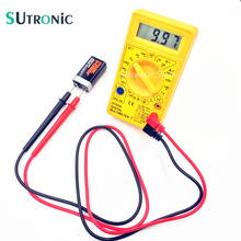 DT 830D Mini Digital Multimeter Buzzer Overload protection Square wave Output Voltage Ampere Ohm Meter Probe DC AC LCD Yellow
