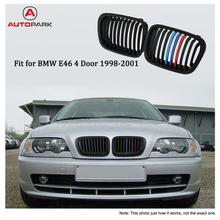 One Pair Matt Black Front Kidney Grille M Style Grill with Red Blue & Dark Blue Color Decoration for BMW E46 4 Door 98-01(China)
