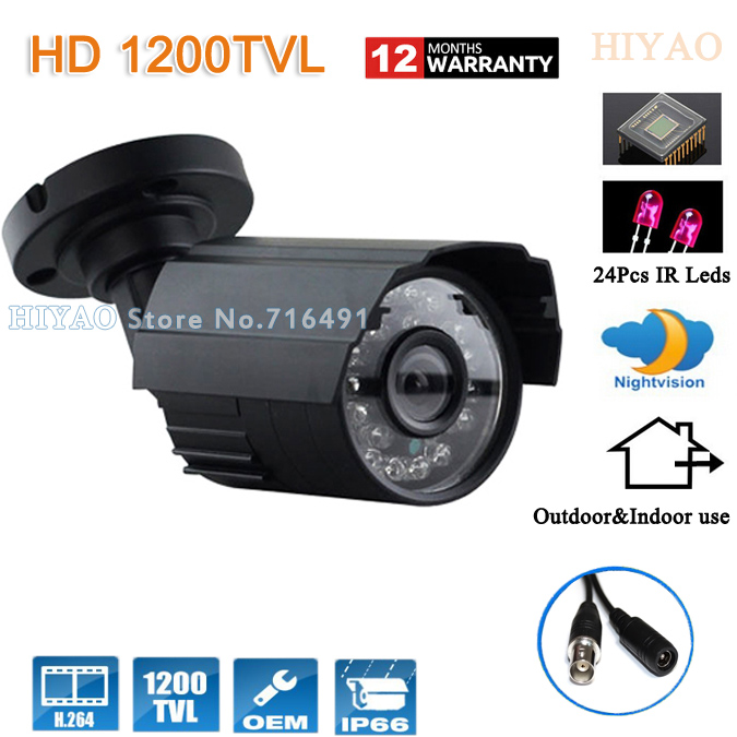 Free shipping CCTV camera 1200TVL Sony cmos IR 24Leds outdoor metal shell IP66 waterproof Security video Systems with Bracket<br>