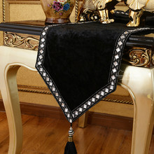 European-style luxury table runner Modern fashion table cloth black table runner free shipping