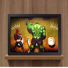 Toilet Hulk Thor Joker Spider Man Wolverine Marvel Heroes funny Toy Poster Wall Pictures cloth Print Canvas painting Home decor(China)