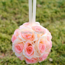 Free shipping, 20cm/8'' Champagne Silk Rose Kissing Ball Flower Pomander Bouquet Flower Ball Wedding christmas Favors HQ07