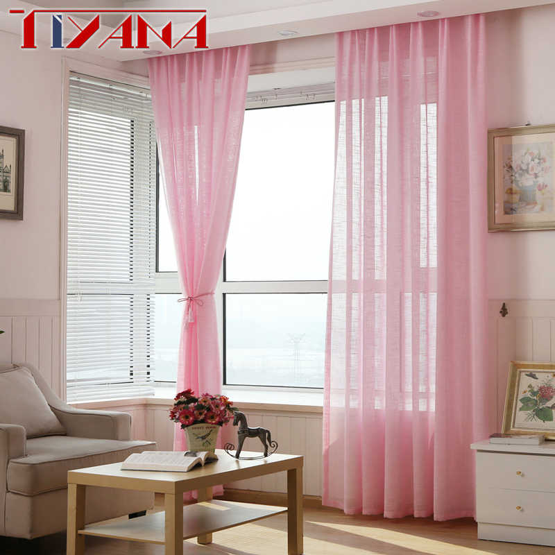 Modern European Linen Solid Pink Curtain Bedroom Window Tulle Finished Grey Voile Curtains For Living Room White Tulle wp342&3