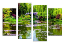4pcs claude monets garten Wall painting print on canvas for home decor ideas paints on wall pictures
