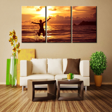 3pcs Print poster canvas Wall Art Sunrise sea coconut trees art oil painting Modular pictures on the wall sitting room(no frame)(China)