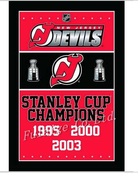 New Jersey Devils Stanley Cup Champions Flag 3ft x 5ft Polyester NHL Banner Flying Size 90*150cm Custom flag(China)