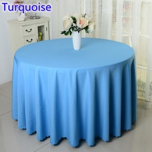 Turquoise colour round decorative table cover polyester table linen for wedding hotel round tables decoration wholesale on sale