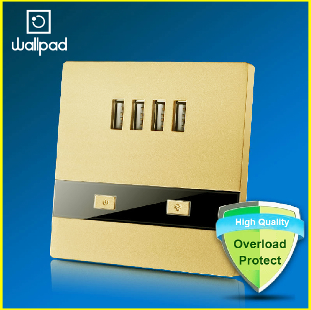 Hot selling 110-250V Classic Gold 4 USB Wall Socket 3000ma, 4 Ports 5.0V USB Outlet Power Charger 3.0, 86 Standard Free Shipping<br><br>Aliexpress