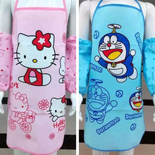 1776 cute child art apron to draw clothes matching cuff canvas set(China)