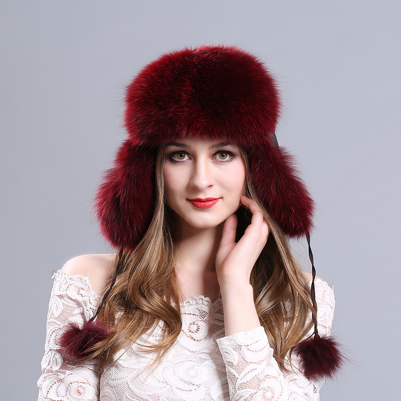 Hot sale Winter womens fox fur hat Bomber Hats cap snow cap fur millinery Russian genuine leather ear protector cap warm beanie<br>