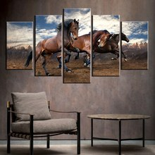 Canvas Print Wall Art Painting Home Decor Running Wild Horse Brown Horses Paintings Modern Artwork For Living Room Decor